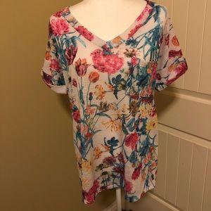 Womens Flamingo Urban Floral Print Shirt Size Med.